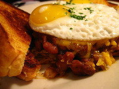 Eggs and Chili over Hash Browns (Accidental Hedonist) Tags: breakfast chili toast eggs friedeggs