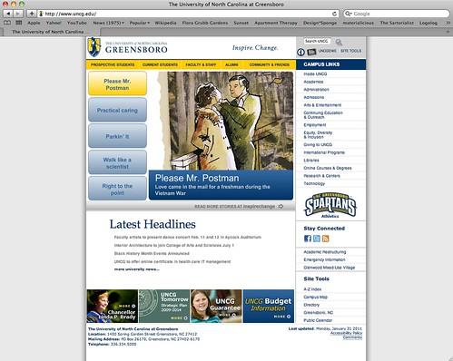 uncg homepage screenshot