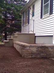Stucco steps with wall and walkway