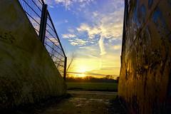 Reflection (bobbrink) Tags: sunset sky sun reflection canon zonsondergang blauw 300d railway tokina vee groningen lucht geel zon hdr 1224 reflectie spoorweg walfridusbrug doorgang