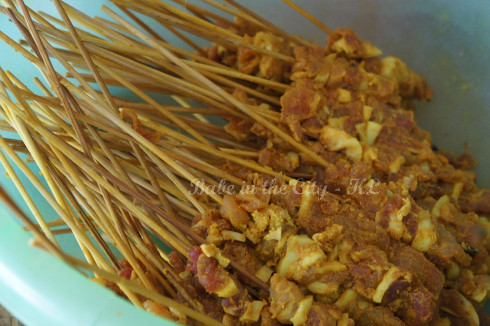 Raw pork satay