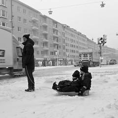 To Kindergarten (StefanRos) Tags: street winter bw snow europe sweden stockholm sthlm 08 februari kungsholmen 2011 steriksgatan lx5