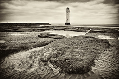 Perch Rock Lighthouse.Wirral(toned version) (Hazeldon73) Tags: world sea lighthouse white black texture beach rock mono coast sand rocks live we perch ripples toned wirral newbrighton the mygearandme