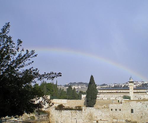 7 A rainbow arcs over the Kotel