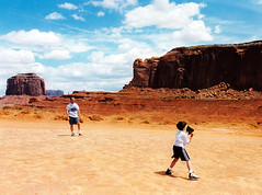 Pick-Up Game - Monument Valley, Utah (Rachel Citron) Tags: film utah baseball kodak americana fatherandson monumentvalley americansouthwest williameggleston pickupgame amerikana democraticforest nationallampoonsfamilyvacation greatamericanpastime lyricdocumentary americabycar andrewcitron markcitron