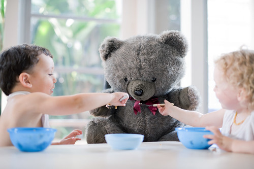 gemma's class bear came home, but gemma was busy so he ate with the twins