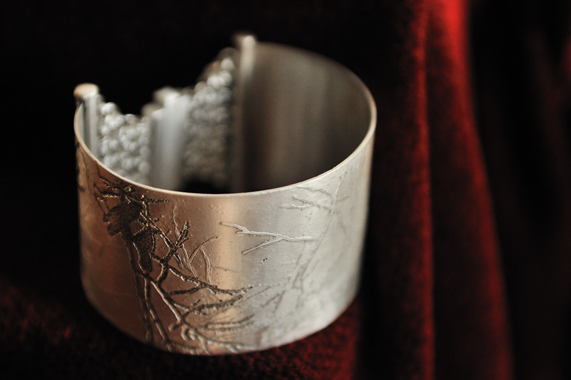 Sterling Silver Etched Magpie Cuff