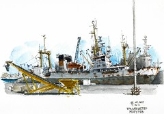 Mlaga, rusty fishing vessel (Luis_Ruiz) Tags: port puerto sketch fishing spain ship harbour drawing vessel andalucia andalusia dibujo malaga mlaga urbansketchers tralmeystermogutov