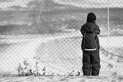 a longing for...? (Enzaa ...) Tags: winter people blackandwhite bw snow canon fence eos prime photo europe sweden 85mm 50d project365 canonef85mmf18usm canoneos50d fencefriday shuttersisters365
