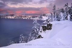 Rim of Fire (pdxsafariguy) Tags: park winter sunset lake snow cold tree ice clouds oregon nationalpark caldera cascades craterlake rim mazama tomschwabel