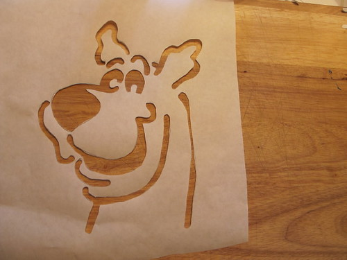 The freshly cut Scooby stencil