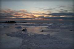 icescape (laura's POV) Tags: winter sunset sky snow cold color ice beach quiet michigan lakemichigan shore peacefulness leelanau northport lauraspointofview lauraspov