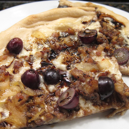 Sausage & Grape Pizza with Balsamic Reduction