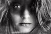 I'm Alive (Lou Bert) Tags: portrait white black texture girl face make up self hair big eyes glow makeup curl facepaint
