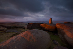 Trig Point Sunrise (andy_AHG) Tags: landscapephotography scenic outdoors rural britishcountryside hills moors sunrise earlymorning firstlight lightandshadow winter clouds weather rocks stanageedge peakdistrict darkpeak derbyshire pennines