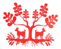red goat silhouette (jenny lee fowler) Tags: red art paper oak cut farm wheat fine roots goat workshop cutting series intricate farmstead papercutting jennyleefowler vytynanki