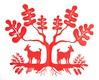 red goat silhouette (jenny lee fowler) Tags: red art paper oak cut farm wheat fine roots goat workshop cutting series intricate farmstead papercutting jennyleefowler vytynanki