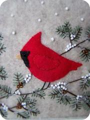 Winter Cardinal Felt Wall Art (thetinygarden) Tags: christmas red white snow tree bird pine reindeer beads cardinal wallart felt retro sparkle oatmeal schmancy plushyou plushteam lowellandson