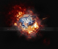 Our Home - Take I (Planet Earth  Jurassic Time) (Rui Almeida.) Tags: fire artwork artistic sale background fineart burning illusion getty comet gettyimages 2012 bigbang loveliness endworld mygearandme earthburning mygearandmepremium mygearandmebronze