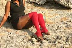 Red knee high socks 2 (jackvanvliet) Tags: socks cutting kneehigh