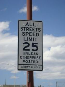 25mph Unless Otherwise Posted speed limit street sign_Union, City of Colorado Springs, Colorado