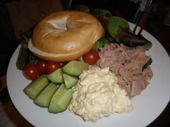 Tuna & egg salad with a bagel