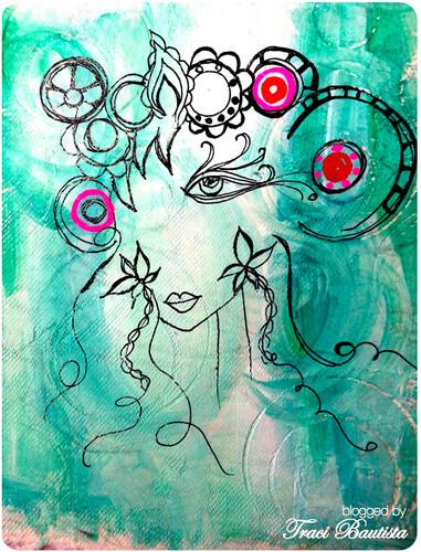 doodled GIRLIE fashionista on handmade canvas