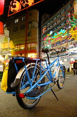 night ride through chinatown (owenfinn16) Tags: color bike bicycle japan cycling neon chinatown yokohama longtail cargobike yubamundo