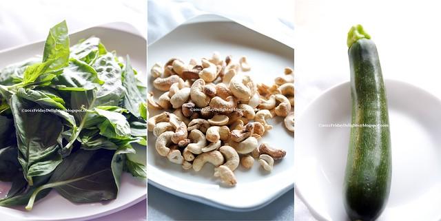 basil, cashews, zucchini