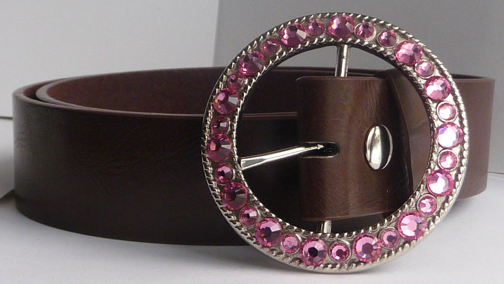 Women's Silver Belt Buckle (Removable) Customized with Pink Rose Swarovski Crystal Rhinestones by Angel Grace
