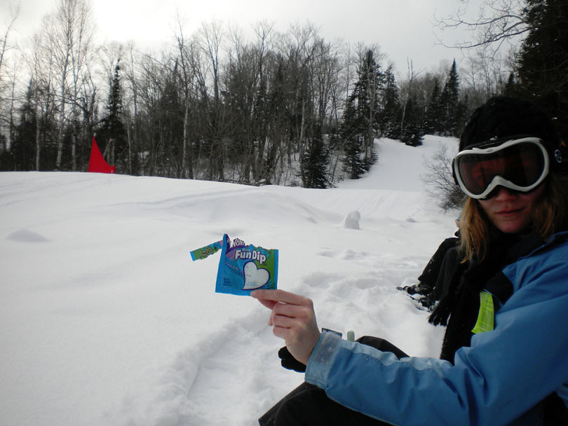 Fun Dip break while snowshoeing
