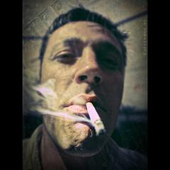 What you just say? (Jeff Krol) Tags: portrait people man texture vintage habit pentax smoke portraiture sigaret k20 k20d pentaxk20d jeffkrol
