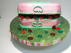 Copy of Jewelry Box Cake (Cake Creations by Trish) Tags: pink jewels jewelrybox pinkfondant