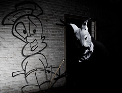 Waskly Wabbit (D.Maitland) Tags: rabbit bunny graffiti nikon mask michigan detroit yearoftherabbit urbex 313 youngphotographers strobist vivitar285hv d7000 dmaitland