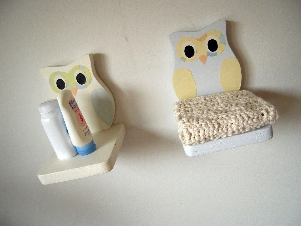 Set of two owl shelves in white and blue home decor nursery bedroom bathroom
