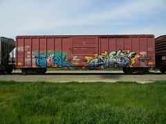 Tawl & Knistt (KickPushPaint aka Sk8Hamburger) Tags: train painting graffiti paint tag cheeseburger boxcar piece tagging freight lords knistt gtl tawl gtlrs knistto