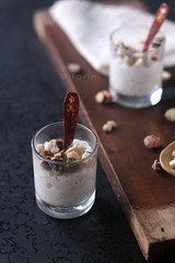Coconut milk pudding with candied dried fruits (sunshinemomsblog) Tags: shotglasses foodphotography thaicuisine foodstyling foodphotographer ricepuddingincoconutmilk coconutmilkpudding sunshinemom harinip tongueticklers indianfoodblogger candieddriedfruits puddingtoppings recipefordawn theboardmysongifted spoonsboughtatrcitymall