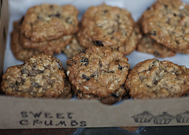 Fresh baked raisin oatmeal cookies