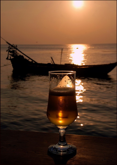 Kep, sunset with Angkor beer,