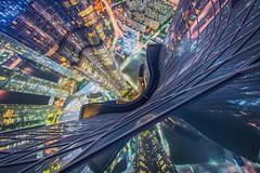 Scared of Heights (albert dros) Tags: night asia albertdros reflections heights cityscape korea vertigo scifi busan tech lookingdown skyscrapers zenith tourism travel southkorea