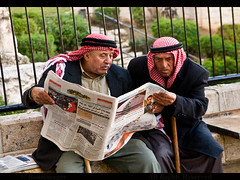 THE MORNING PAPER (BoazImages) Tags: morning men paper reading newspaper traditional jerusalem culture east arab tradition middle mid palestinian damascusgate kafia boazimages