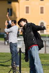 Strike a pose (electricblue86) Tags: people italy funny italia torre tourists unesco pisa tuscany toscana leaningtower poses torrependente piazzadeimiracoli