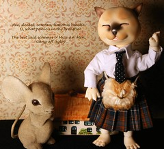 To Robert Burns, on the Day of His Birth (bentwhisker) Tags: cat mouse toys scotland poetry poem dolls scot bjd robertburns resin anthro dollzone burtontomcat