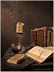 Still Life (John Adkins II) Tags: stilllife glasses candle books brandy alienbees nikonsb800 nikon18200vr b800 johnadkins nikond300 theartistseyes johnadkins inspiredbythedutchmasters