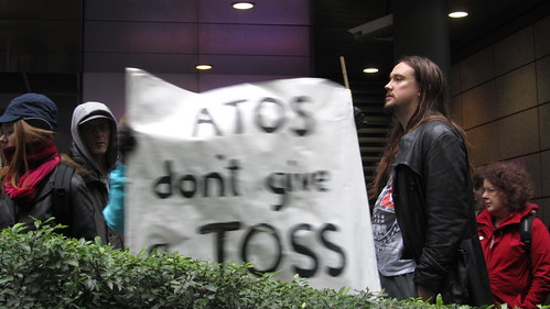 """Atos don't give a toss"" placard"
