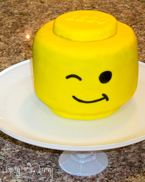 lego head fondant birthday cake