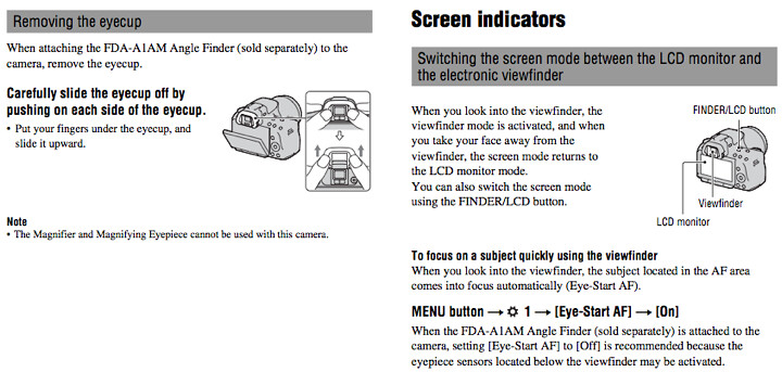Instructions for using the Sony FDA-A1AM Angle Finder, found on page 31 and 39 of the Sony A33 Manual