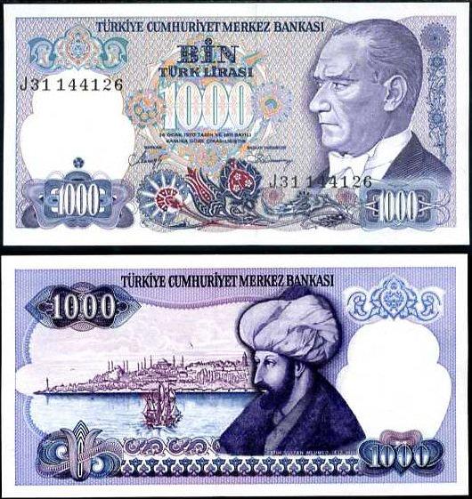 1000 Lír Turecko L.1970(1986), P196