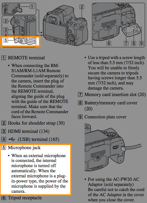 Location of the microphone jack, illustrated on page 17 of the Sony A55 Manual