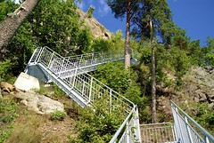 uphill (Luccca) Tags: blue trees sky mountain green nature stairs rocks europe sweden cliffs hills clear pines outpost trollhattan
